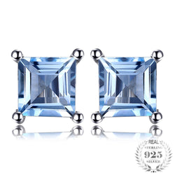 Genuine 925 Sterling Silver Square 0.7CT Natural Sky Blue Topaz Earrings