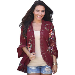 Boho Floral New Bell Sleeve Hollow Out Lace Cardigan