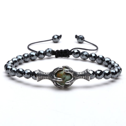 Image of Natural Stone Beads 6MM Hematite Titanium Steel Eagle Claw Gentleman Punk Bracelet