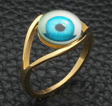 Stainless Steel Turkish Eye Rock Punk Illuminati Rings
