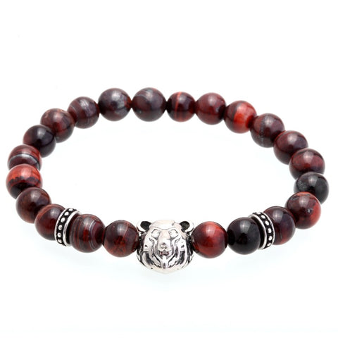 Image of 8MM Nature Stone Titanium Steel Tiger Bead Charm Bracelets