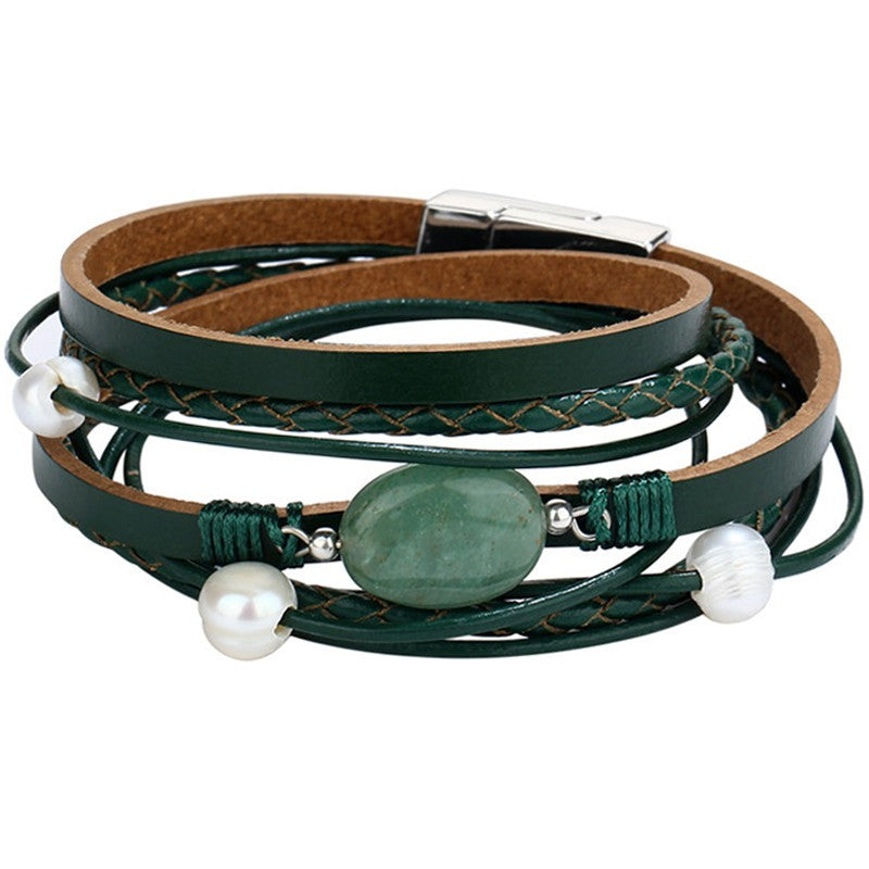 Green Stone Vintage Multiple Layers Simulated Pearl Acrylic Cuff Bracelets