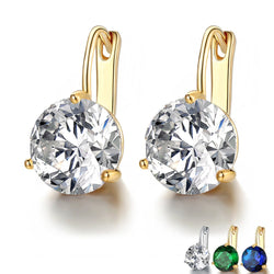 Round Stud Vintage Cubic Zircon Crystal Earring