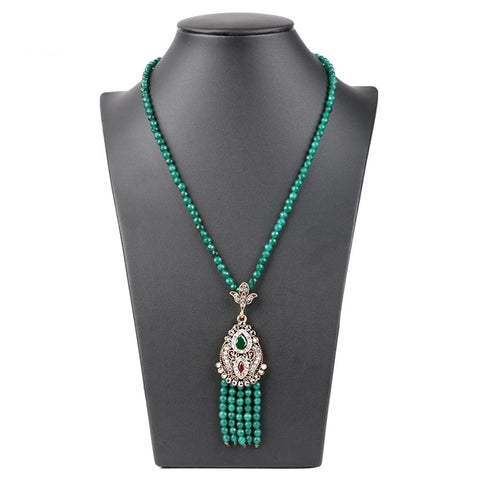 Image of Turkish Antique Africa Bead Long Tassel Pendant Necklace