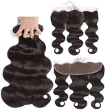 Human Hair 2/3 Bundles With Closure Frontal Hair Extension