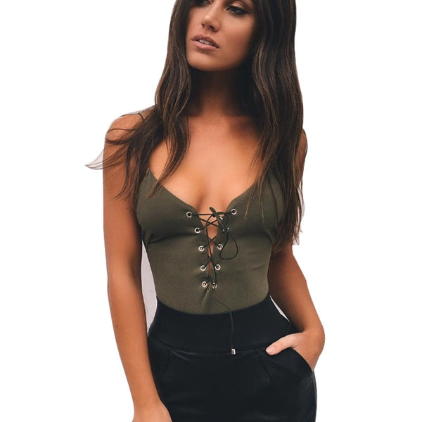 Backless Deep V Neck Sexy Lace Up Bodysuit
