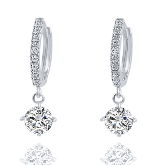 Geometric Round Crystal Stud Zircon Pendant Earrings