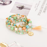 Crystal Multicolor Beads Weave Tassel Coin Love Bracelets