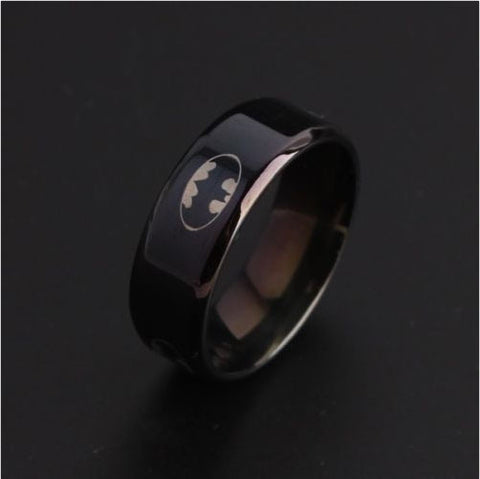 Image of Batman Symbol Titanium Stainless Steel Rings