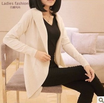 Long Sleeve Knitted Scarf Collar Cardigans Sweaters