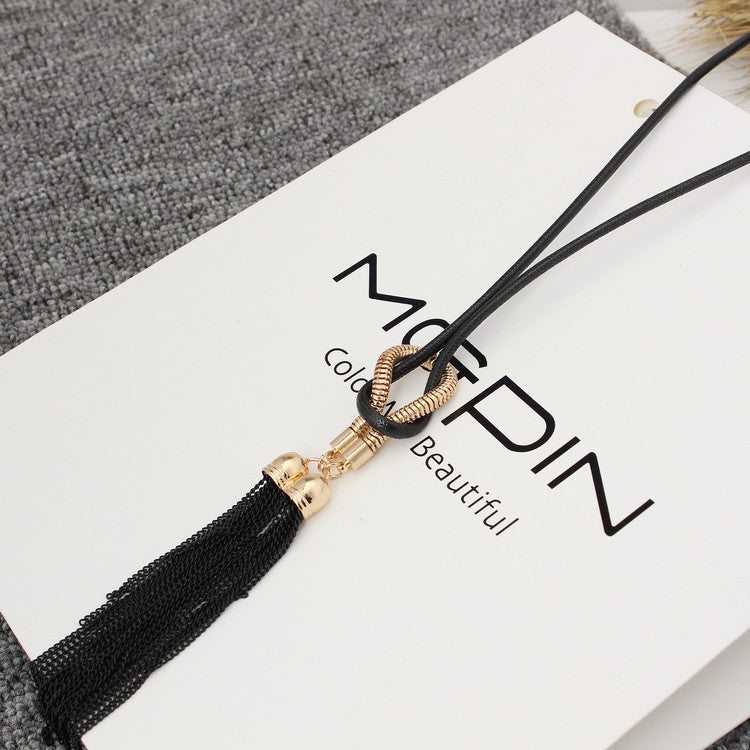 Winter Sweater Chain Tassel Long Necklace