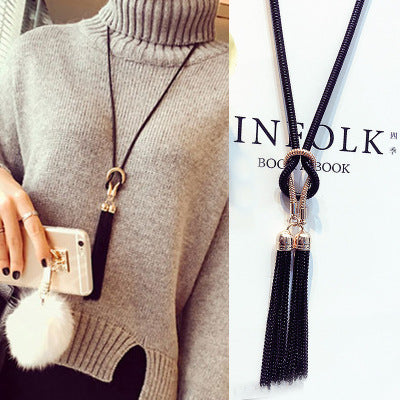 Image of Winter Sweater Chain Tassel Long Necklace