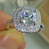 925 Sterling 4CT 5A Zircon Stone Engagement Wedding Ring
