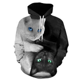3D Two Cat Print Hoody Casual Hipster Hip Hop Pullovers