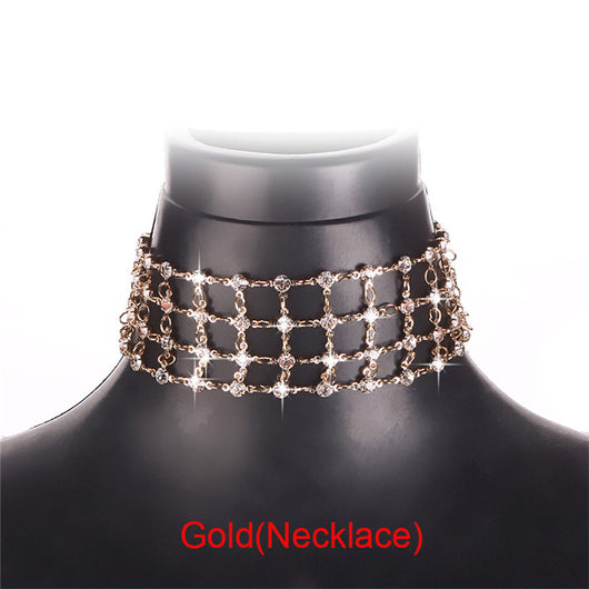 Crystal Bra Harness Chain Choker Necklace
