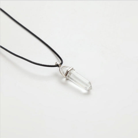 Image of Natural Crystal Leather Chains Pendant Necklace