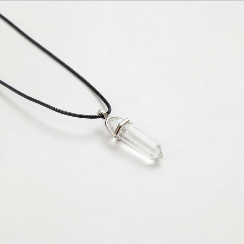 Natural Crystal Leather Chains Pendant Necklace