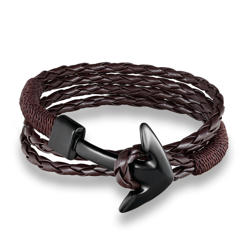 Woven Multilayer Anchor Leather Bracelets
