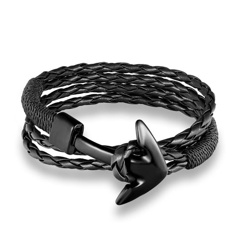 Image of Woven Multilayer Anchor Leather Bracelets