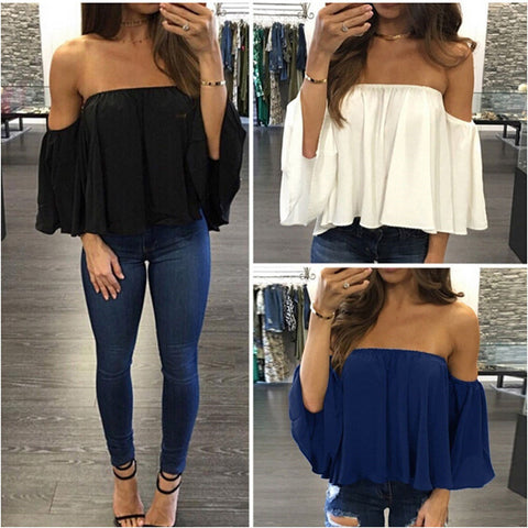 Image of Ladies Lace Off-shoulder Casual Tops
