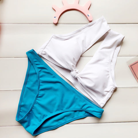 Image of New Bow Knot Solid Color Bikini Set