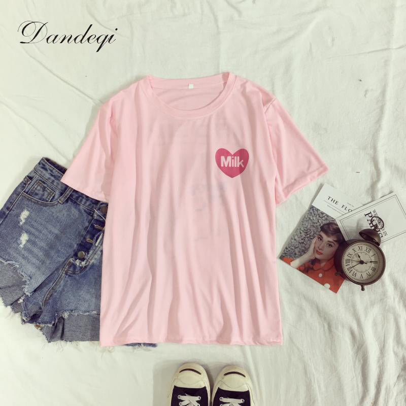 Harajuku Tee Soft Love Heart Milk Box Printed Short-sleeve tops for girls