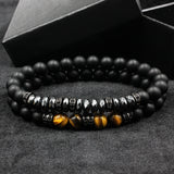 2Pcs Pave CZ Men Matte Beads with Hematite Bead Diy Charm Bracelet