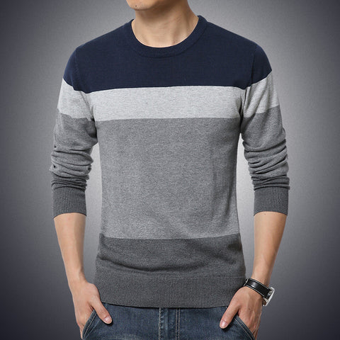 Image of Autumn Casual Men's O-Neck Striped Slim Fit Pullovers Sweater