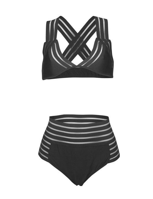 High Waist Stripped Hollow Out Net Bikini Set