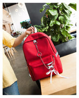 Ribbons Hanging Chain Ring Teenage Girls Backpack