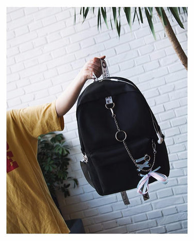 Image of Ribbons Hanging Chain Ring Teenage Girls Backpack