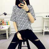 Korean Harajuku T-shirt Female Short Sleeve BF Letters Striped Basic T-shirt