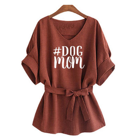 DOG Mom Print T-Shirt