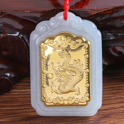 Quartet Mirror Dragon Hetian Jade Pendant Necklace