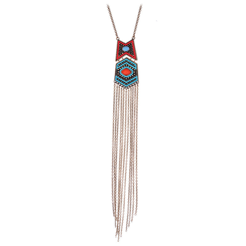 Ethnic Vintage Beads Long Tassel Pendant Necklace