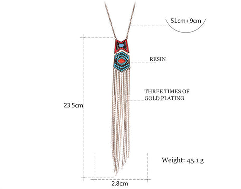 Image of Ethnic Vintage Beads Long Tassel Pendant Necklace