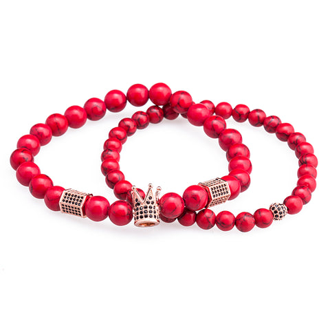 Image of 2Pcs Natural Stone Gentleman Crown Charm Woven Bracelet