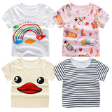 Summer Girls & Boys Short Sleeve Cartoon Print T-shirt