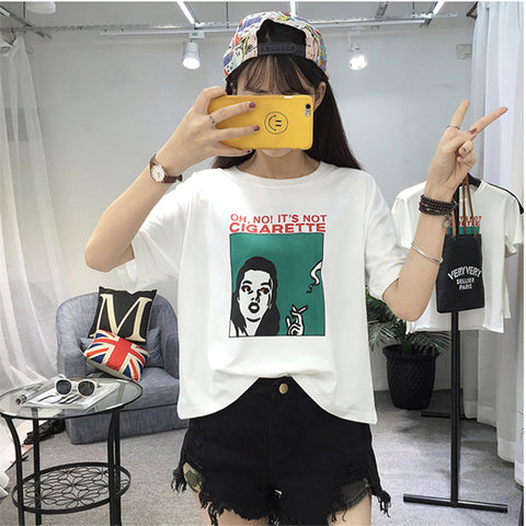 Image of Harajuku Personality Printed Short-sleeved Students Top