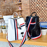 Stripe Soft Leather Ladies Shoulder Bags