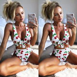 Cherry High Waist Push Up Bandage Swimsuit