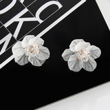 Seaside Resort Style Exaggerated Crystals Large Camellia Stud Earrings