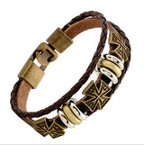 3 Layers Mini Cross Skull Heart Antique Bronze Leather Bangle