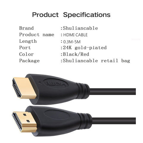 3FT,0.3M,1M,1.5M,2M,3M,5M High speed Gold Plated Plug Male-Male HDMI Cable 1.4 Version HD 1080P 3D for HDTV XBOX PS3 computer