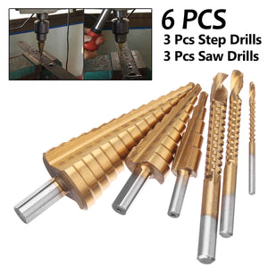 High Speed Steel Metric Step Drill bit Cobalt Set + Cone Cutter Set