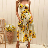 Summer Floral Dot Long Beach Dress
