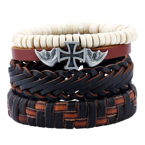 Image of 4Pcs Vintage Multilayer Pu Leather Anchor Bracelets