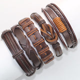 5pcs/set Handmade Trendy Vintage Punk Wood Bead Leather Bracelet