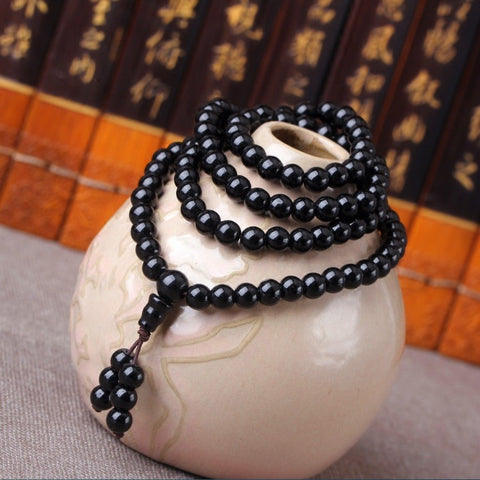 Image of 6-8MM Obsidian Beaded Tibetan Buddhist Buddha Meditation Bracelets
