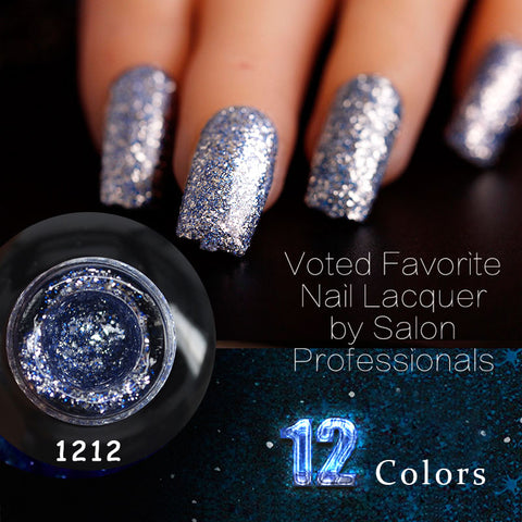 Image of 12ml 12 Color Supper Diamond Shining Glitter Sequin Starry Platinum Paint Gel
